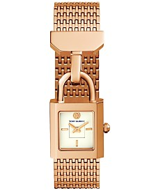 Tory Burch Women's Surrey Rose Gold-Tone Stainless Steel Bracelet Watch 21x20mm
