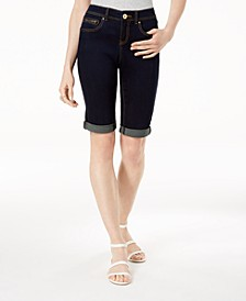INC Curvy-Fit Tikglo Cuffed Denim Shorts, Created for Macy's