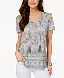 Style & Co Petite Printed Tassel Peasant Top, Created for Macy's