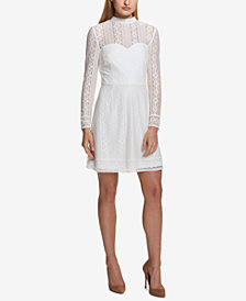 kensie Long-Sleeve Lace Sweetheart Dress