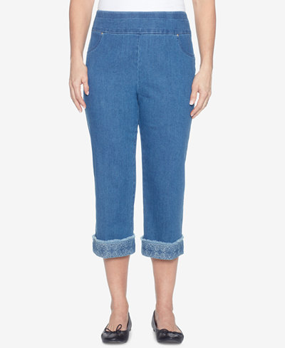 Alfred Dunner Sun City Embroidered Capri Jeans