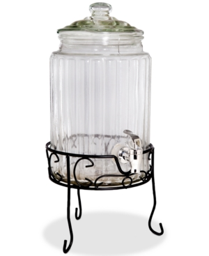 Home Essentials Del Sol Ribbed Glass 15Gallon Beverage Dispenser with Stand