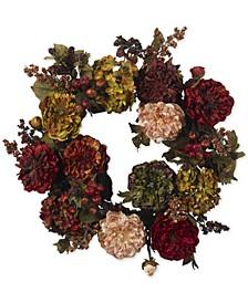 """22"""" Autumn Hydrangea & Peony Wreath"""