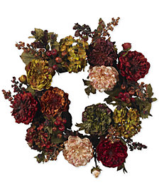 "Nearly Natural 22"" Autumn Hydrangea & Peony Wreath"