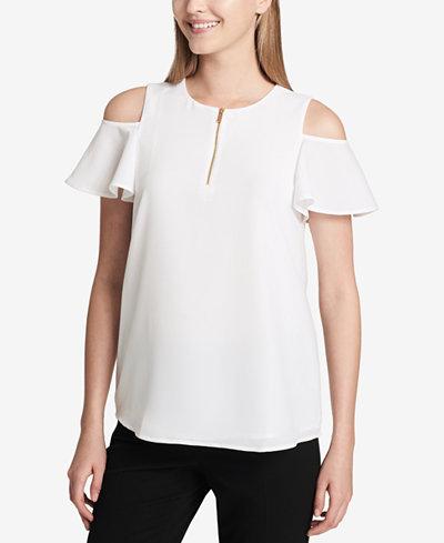 Calvin Klein Cold-Shoulder Zip-Detail Top