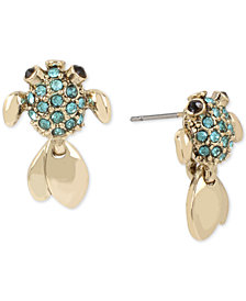Betsey Johnson Gold-Tone Pavé Fish Stud Earrings