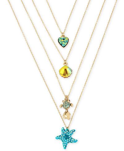 Betsey Johnson Gold-Tone 4-Pc. Set Multi-Stone Sealife Pendant Necklaces, 15-1/2