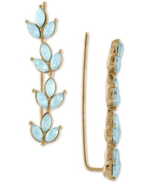 GOLD-TONE COLORED STONE LEAF CLIMBER EARRINGS