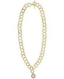 "Majorica Gold-Tone Link & Imitation Pearl 24"" Pendant Necklace"
