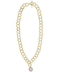 "Majorica Gold-Tone Link & Imitation Pearl 24"" Pendant Necklace"