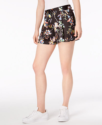 Bar III Floral-Print Pleated Shorts, Created for Macy's