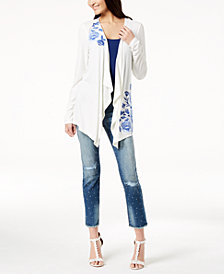 I.N.C. Petite Floral-Embroidered Drape-Front Cardigan, Created for Macy's