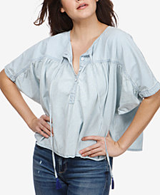 Lucky Brand Ruched Tassel Top
