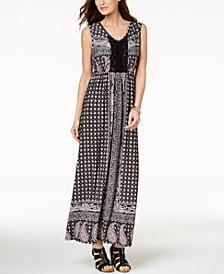 Style & Co Petite Printed Crochet Maxi Dress, Created for Macy's