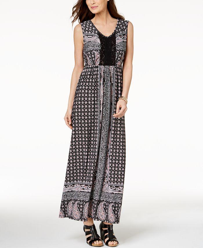 Style & Co - Petite Printed Crochet Maxi Dress