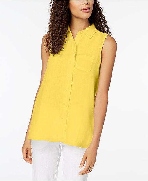 Lemon Macy's Created Linen Charter Shirt Spritz for Club wxqaAYAtg
