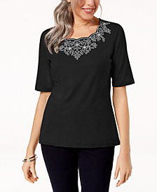 Karen Scott Embroidered T-Shirt, Created for Macy's