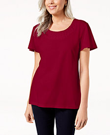 Karen Scott Petite Woven-Neck Top, Created for Macy's