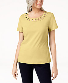 Karen Scott Hardware-Embellished Cutout Cotton T-Shirt, Created for Macy's