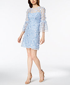 JAX Bell-Sleeve Floral-Appliqué Dress