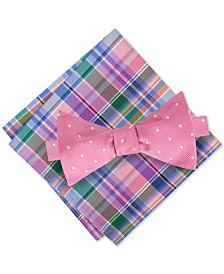Tommy Hilfiger Men's Dot To-Tie Silk Bow Tie & Picnic Plaid Silk Pocket Square Set
