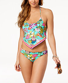 Trina Turk Key West Botanical Printed Handkerchief Tankini Top & Shirred Hipster Bikini Bottoms