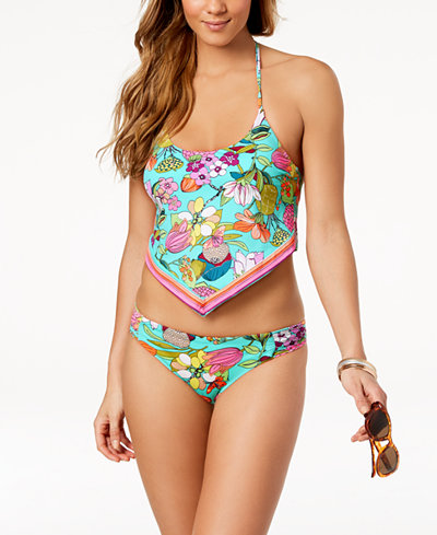 Trina Turk Key West Botanical Printed Handkerchief Tankini Top & Shirred Hipster Bikini Bottoms