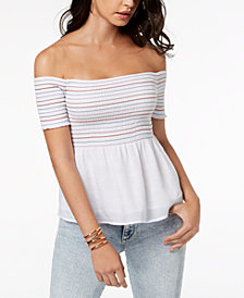 GUESS Smocked Off-The-Shoulder Top