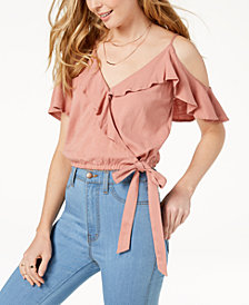 ASTR the Label Tansy Cold-Shoulder Flounce Top