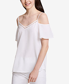 Calvin Klein Off-The-Shoulder Faux-Pearl Top