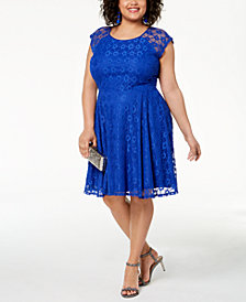 City Studios Trendy Plus Size Lace Fit & Flare Dress