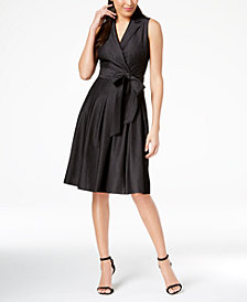 Anne Klein Sleeveless Pleated Wrap Dress