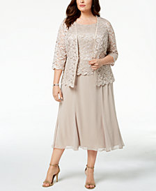 Alex Evenings 2-Pc. Plus Size Lace Jacket & Dress