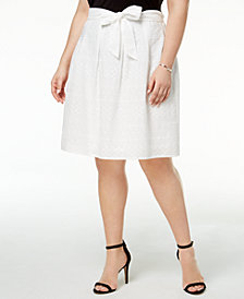 Nine West Plus Size Eyelet Lace A-Line Skirt
