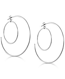 GUESS Silver-Tone Double Hoop Earrings