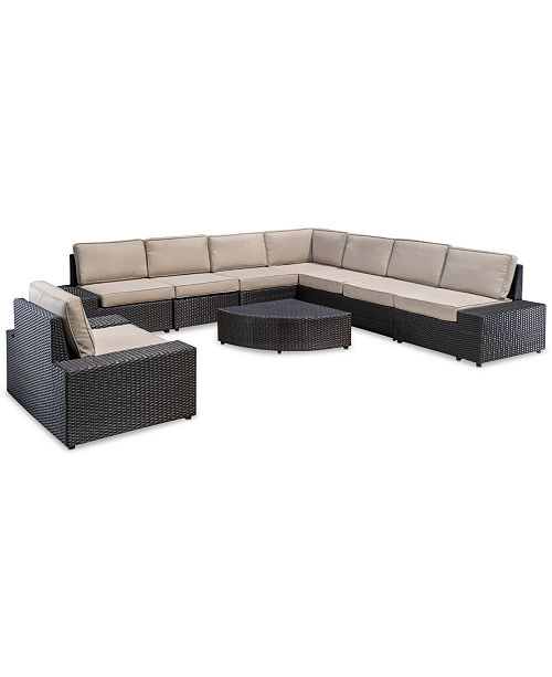 Furniture San Marcos Outdoor 9-Pc. Sectional Set, Quick Ship