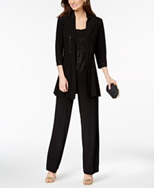 R & M Richards Glitter-Print Pantsuit