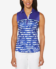 PGA TOUR Floral Stripe Sleeveless Polo