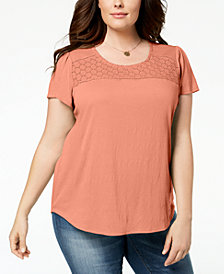 Style & Co Plus Size Crochet-Trim T-Shirt, Created for Macy's
