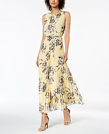 Jessica Howard Petite Belted Pleated Maxi Dress