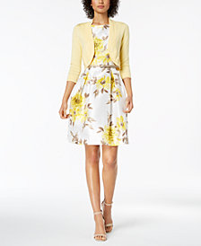 Jessica Howard Belted Floral-Print Dress & Shrug Cardigan
