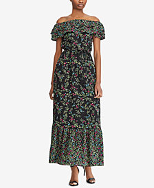 Lauren Ralph Lauren Floral-Print Off-The-Shoulder Maxi