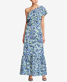 Lauren Ralph Lauren One-Shoulder Maxidress