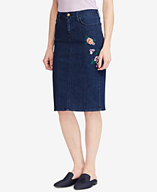 Lauren Ralph Lauren Denim Straight Skirt