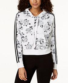 Calvin Klein Performance Rose Spray Printed Cropped Hoodie