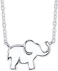"Unwritten Elephant Pendant Necklace in Sterling Silver, 16""+2"""