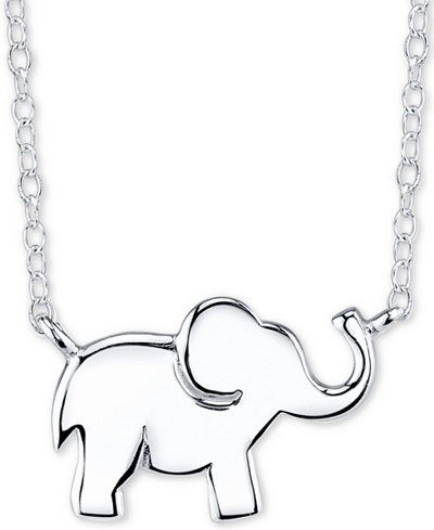 Unwritten Elephant Pendant Necklace in Sterling Silver, 16