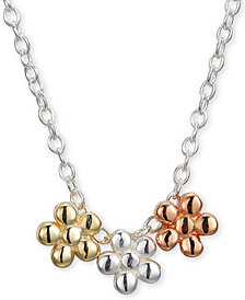 "Unwritten Triple Flower Pendant Necklace in Sterling Silver, Gold-Plate and Rose Gold-Plate,  16""+ 2"" extender"