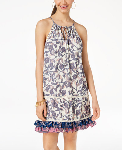 City Triangles Juniors' Printed Crochet-Trimmed Swing Dress
