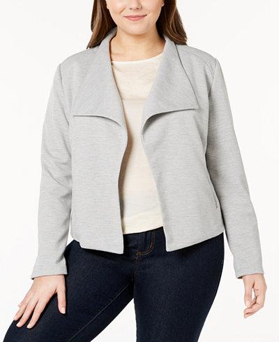 Calvin Klein Plus Size Textured Open-Front Jacket